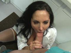 Gorgeous nurse Ava Addams sucking hard cock