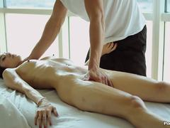 Massage and fucking for this beautiful brunette