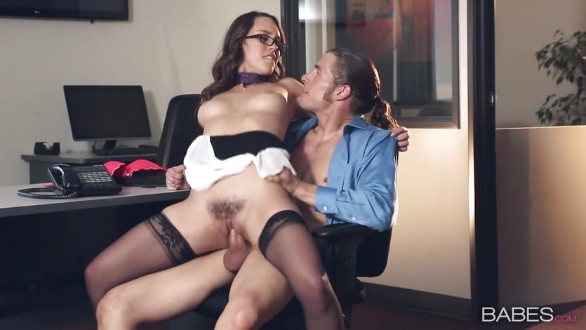 Hot secretary Jade Nile sucks her bosses dick