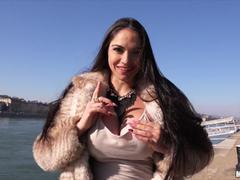 Busty brunette Marta La Croft fucks unknown dick for cash