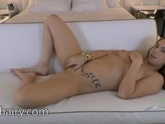 Edyn Blair shows off her hairy pussy