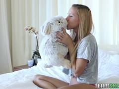Blonde teen getting stuffed hard