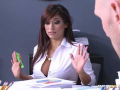Raunchy babe Reena Sky fucks her colleague at work