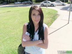 Pretty teen brunette Mia Hurley