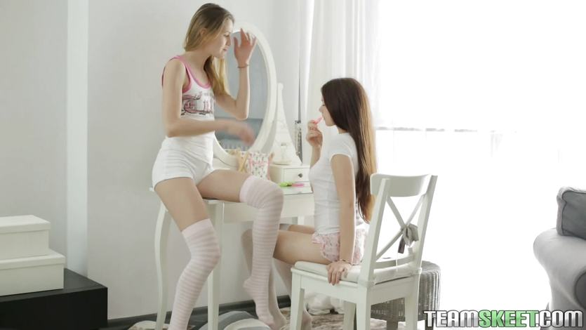 Two teen girls licking pussy