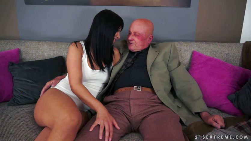 Old man explodes his cock cream over a pretty brunette