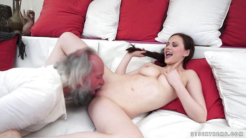 Tina Kay licking and fingering a grandads ass