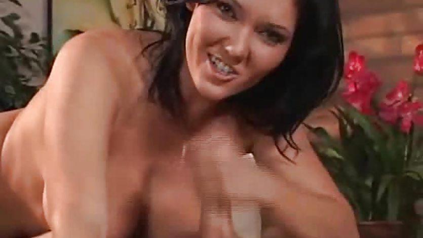 Brunette Claire Dames jerks this hard dick