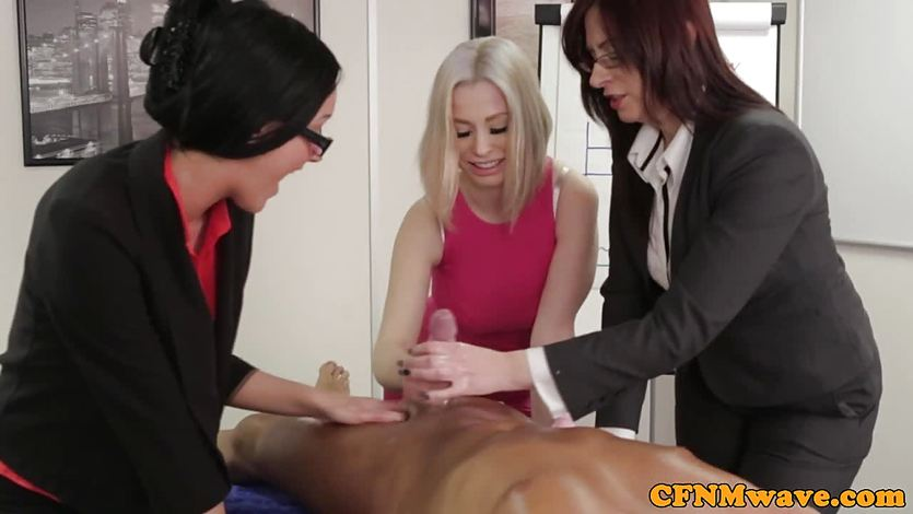 Chantelle Fox and friends play with this hard cock