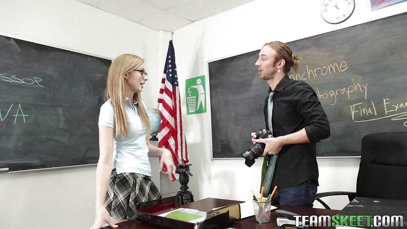 Blonde teen Alexa Grace getting nailed in class
