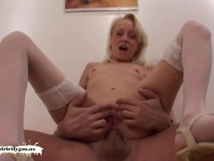 Small tit blonde babe riding a cock