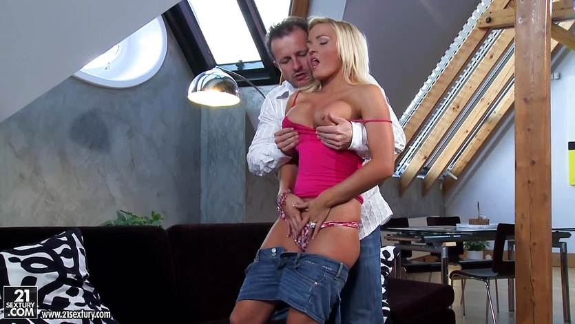 Busty blonde Nicky Angel crams cock in her butthole