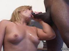 Blonde MILF enjoys a big black cock