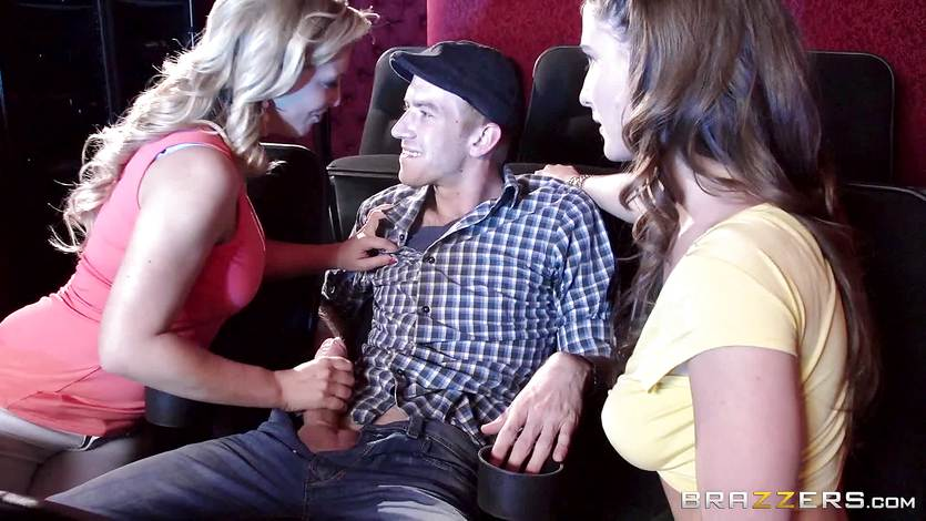 Molly Jane fucks her man in the porn theatre with Cherie Deville