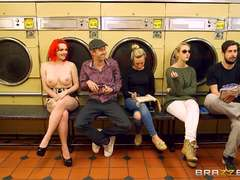 Big dick launderette fucking for red haired Jasmine James