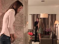 Babysitter Madelyn Monroe fucks her boss as Aspen Ora hides