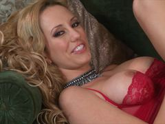 Beautiful Brett Rossi toys in red lace lingerie