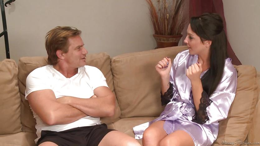 Sexy burnette Ashley Stone massages her husbands brother