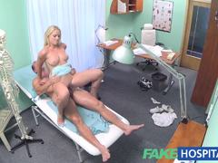 Blonde with nice tits gets examination
