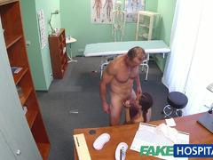 European babe gobbles down doctors hard cock