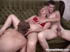 Mom slut fucks with two boys