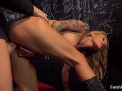 Horny Sarah Jessie gobbles down this hard dick