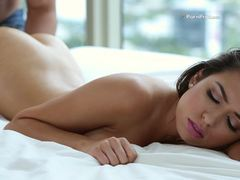 Brunette babe Melissa Moore oiled and drilled