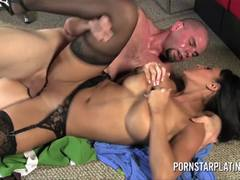 Stocking clad Faustine Lee rides this hard cock