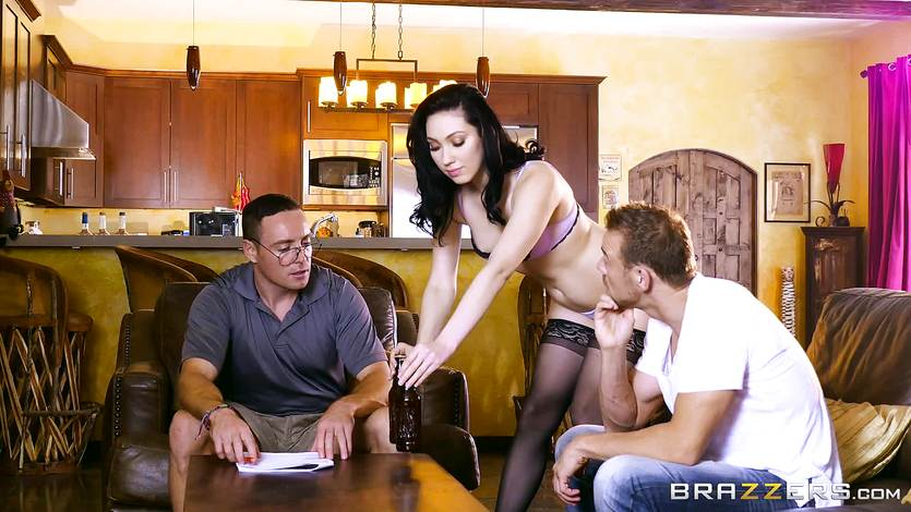 Naughty wife Aria Alexander pounded in the kitchen
