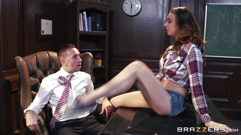 Brunette student Tiffany Tyler rides her teachers dick