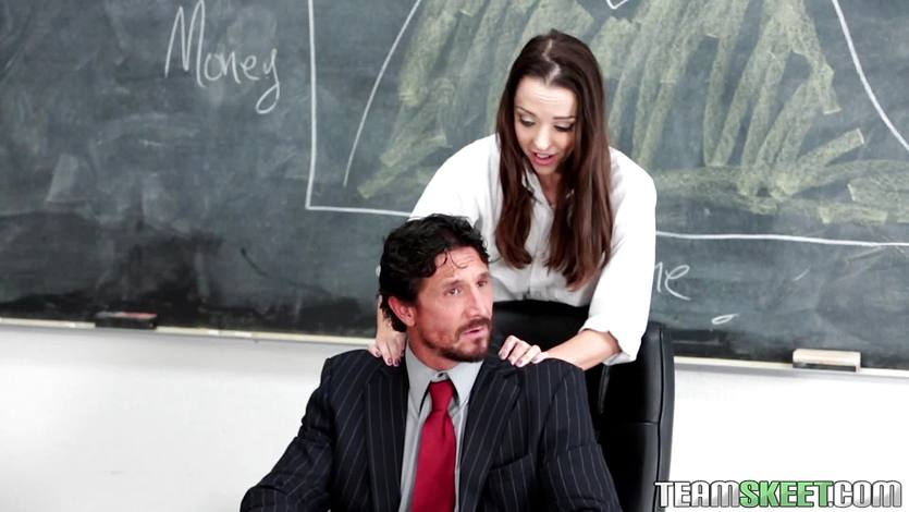 Nikki Next rides her teachers cock in the classroom