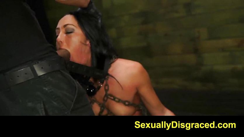 Dominated Sabrina Banks gets her slippery throat slammed