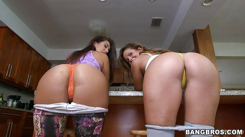 Keisha Grey fucked in the kitchen with her friend Eva Lovia