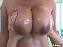 Asian with big tits gets drilled in her vag flaps