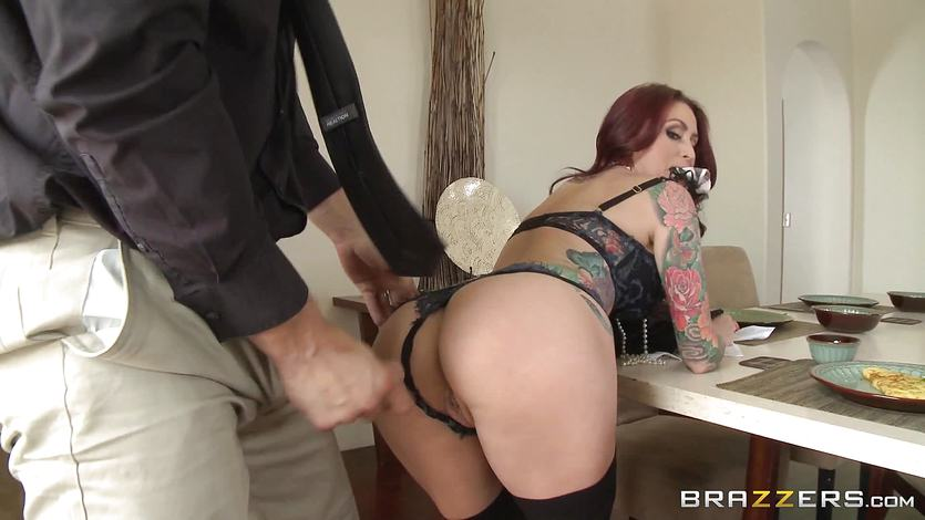 Tattooed wife Monique Alexander dining room dicking