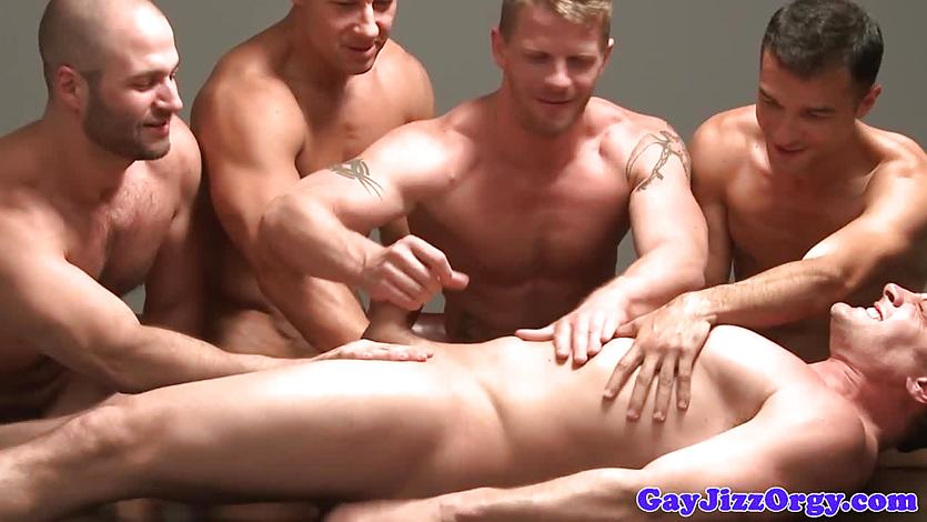 Hot Gay Orgy Cumcovered Cock Lovers
