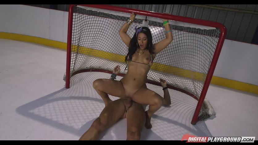 Horny cute brunette Eva Lovia rammed deep in her sexy clit slit at the ice rink