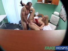 New nurse takes double cumshot from doctor