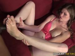 Brunette Lara Brookes has a foot fetish