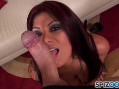 Dick sucking latina Gabby Quinteros gags on cock