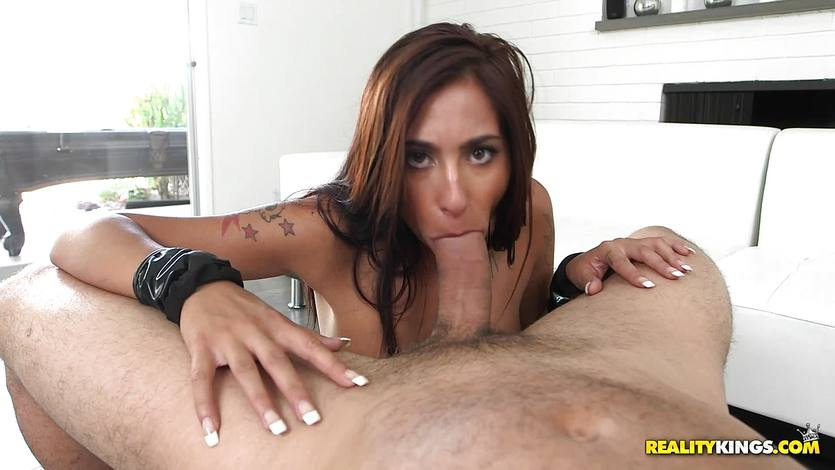 Gagging babe Stacy Jay sticks dick down her throat