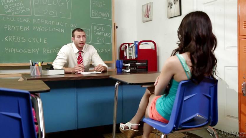 Naughty student Veronica Radke sucks and fucks the teacher