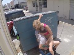 Hot blonde Alexa Grace fucks in a public place