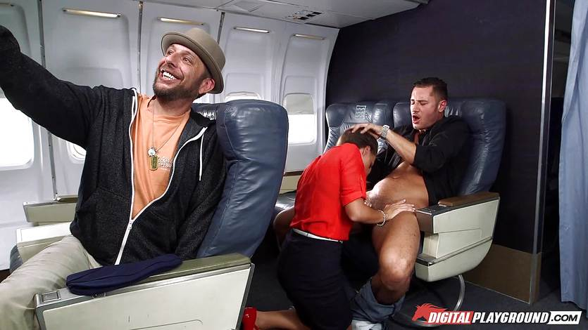 Stewardess Abigail Mac cant resist riding the passengers