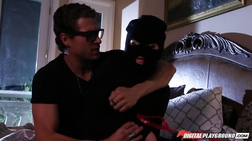 naughty burglar Jillian Janson gets caught and hammered
