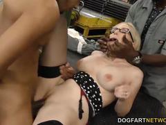 Blonde Christie Stevens enjoys gangbang