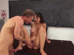 Classroom squirting lessons with hot brunette Cytherea