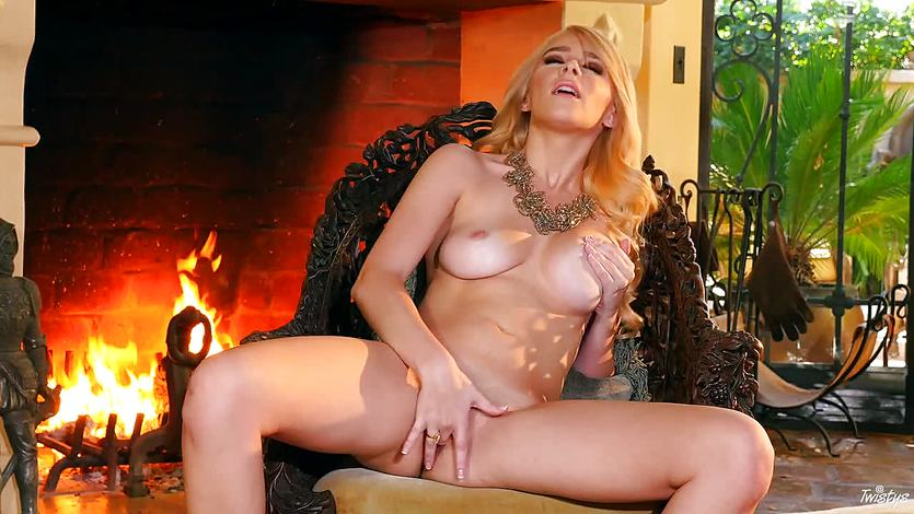 Fireside masturbation with sexy Penelope Lynn