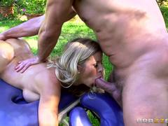 Oiled up babe Alexis Fawx takes it on the grass