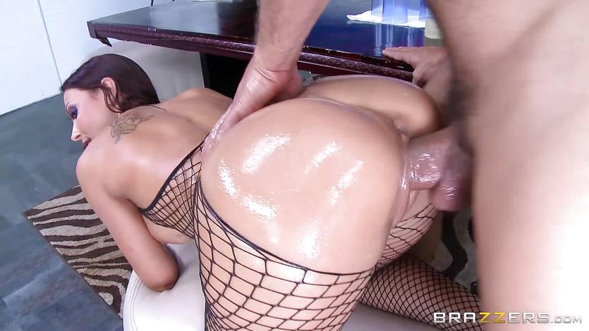 Rachel Starr takes a big dick through her hot fishnet